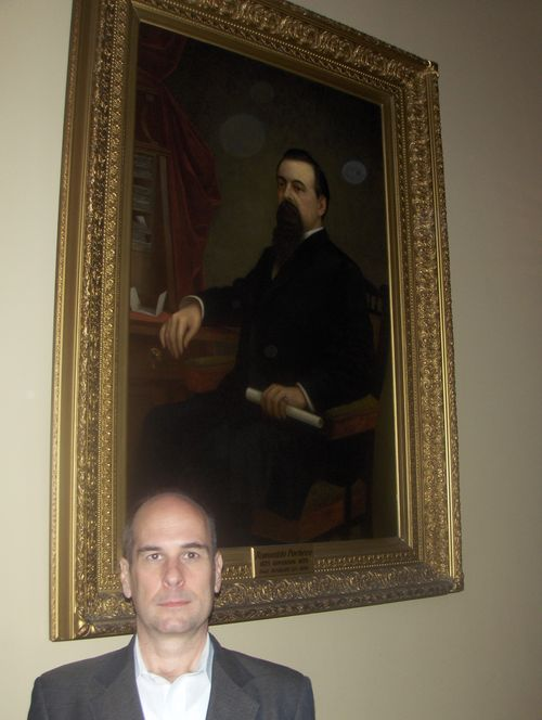 with a portrait of Governor Romualdo Pacheco (R-CA) in Sacramento
