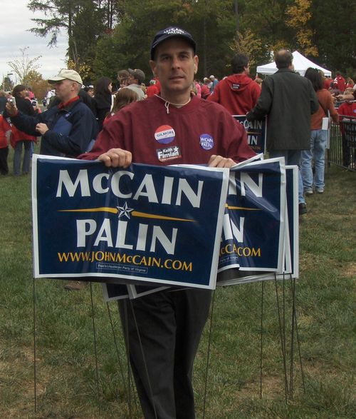 trying to help drag John McCain across the finish line in Woodbridge, VA